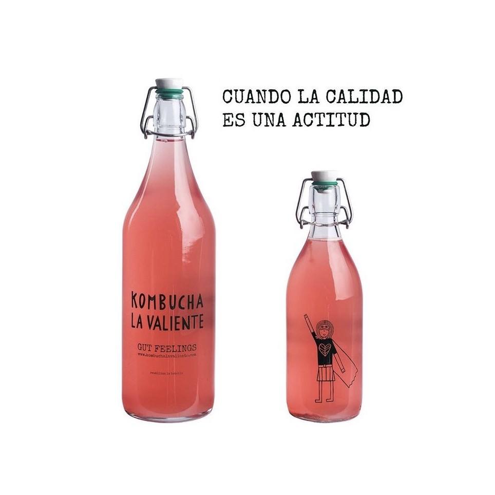 Kombucha La Valiente  Arándano Y Frambuesa /1/2 Litro/Botella De Cristal Colección
